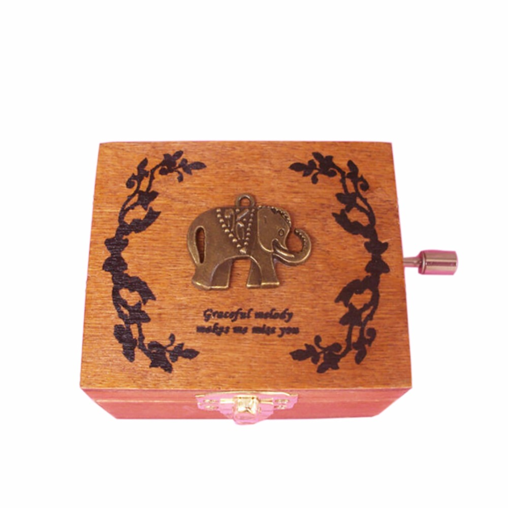 Wooden Handy Music Box Lovely Animal Eiffel Tower Pattern Music Box Birthday Party Wedding Home Decor Best Gift for Friend Newes