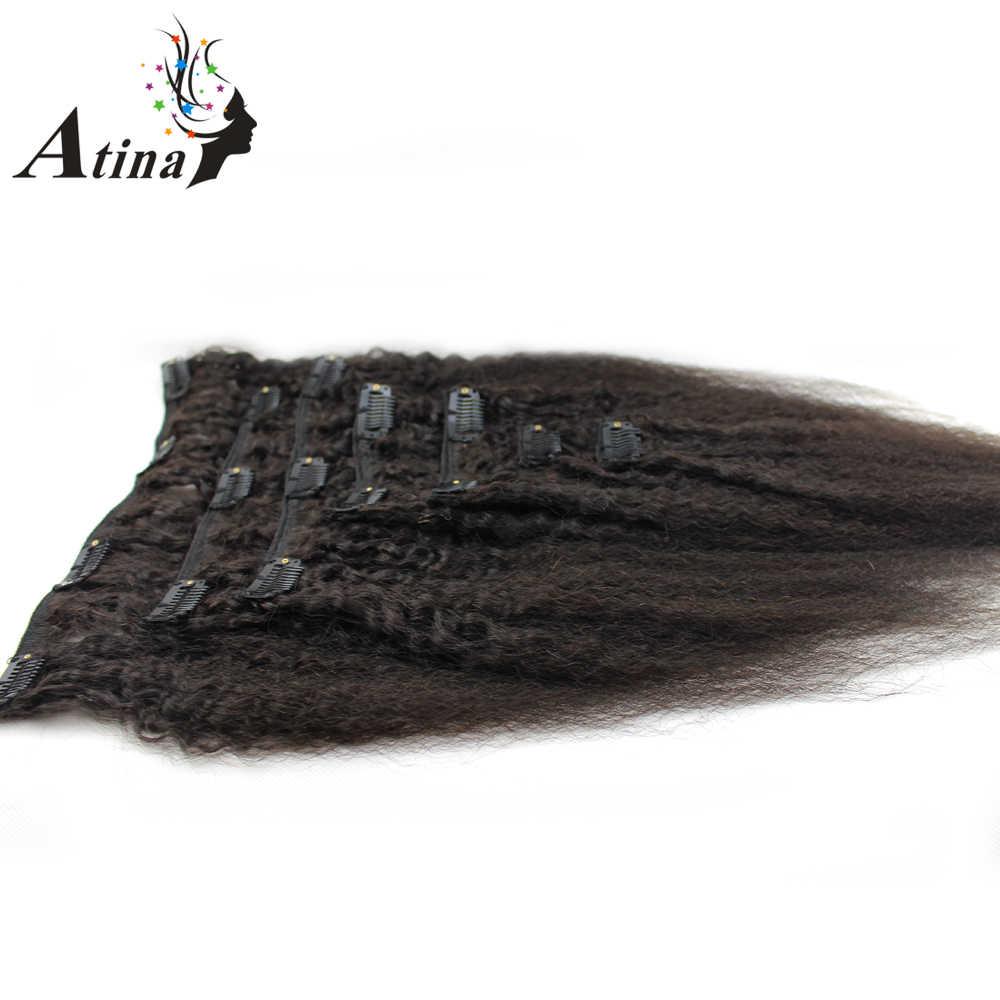 Atina Clip de pelo en extensiones de cabello humano brasileño Remy Afro rizado italiano Yaki Clip en 7 unids/set 120g por paquete