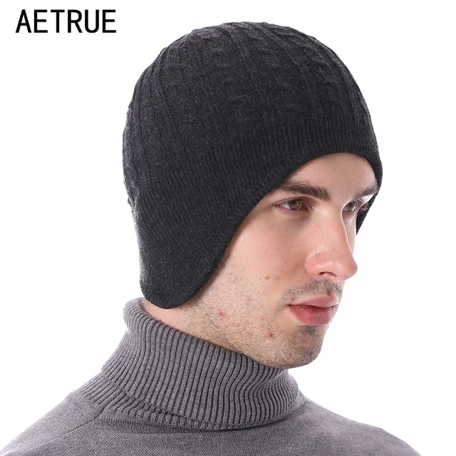 01ae4cd64cd AETRUE Winter Beanie Knitted Hat Men Winter Hats For Men Women Skullies  Beaines Fashion Ear Flaps