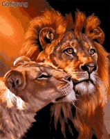 Frameless The Lion Animal DIY Painting By Numbers Kits Coloring Oil Painting On Linens Drawing Home