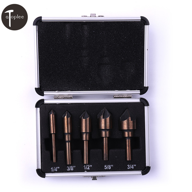 5PCS 1/4 3/8 1/2 5/8 3/4 Countersink Drill Bit Set HSS 5 Flute Edge Chamfering 82 Degree Taper Cutter Drilling Tools 1 2 3 5 1