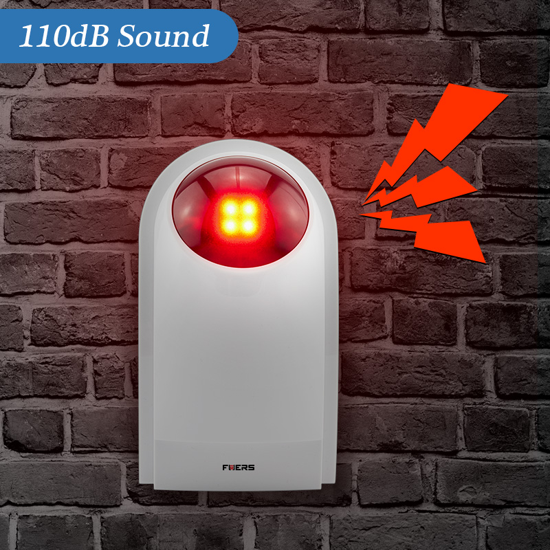Fuers J008 110dB Indoor Wireless Flashing 433MHz Siren Strobe Light Siren Horn Suit For All Of Alarm System