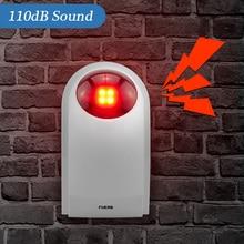 Fuers J008 110dB kapalı kablosuz yanıp sönen 433MHz Siren çakarlı lamba megafon takım elbise tüm alarm sistemi