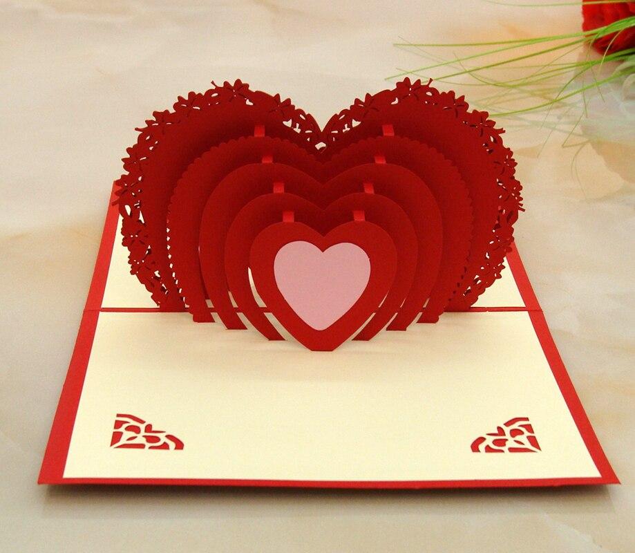 5pcs High End Red Heart Wedding Card 3d Pop Engagement