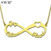 Custom Name Necklace Gold Color Jewellery Necklaces Infinity Pendant Love Heart Collier Bijoux Chain Gifts For Women Friends
