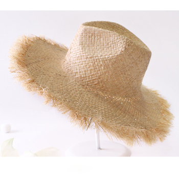 Summer Simple solid color Handmade Weave Raffia Sun Hats For Women Lace Up Large Brim Straw Hat Outdoor Beach Summer Caps