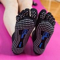 2pairs Five Finger Yoga Sock Oufiga NON SLIP Yoga Pilates Socks Half Toe Ankle Grip Granular