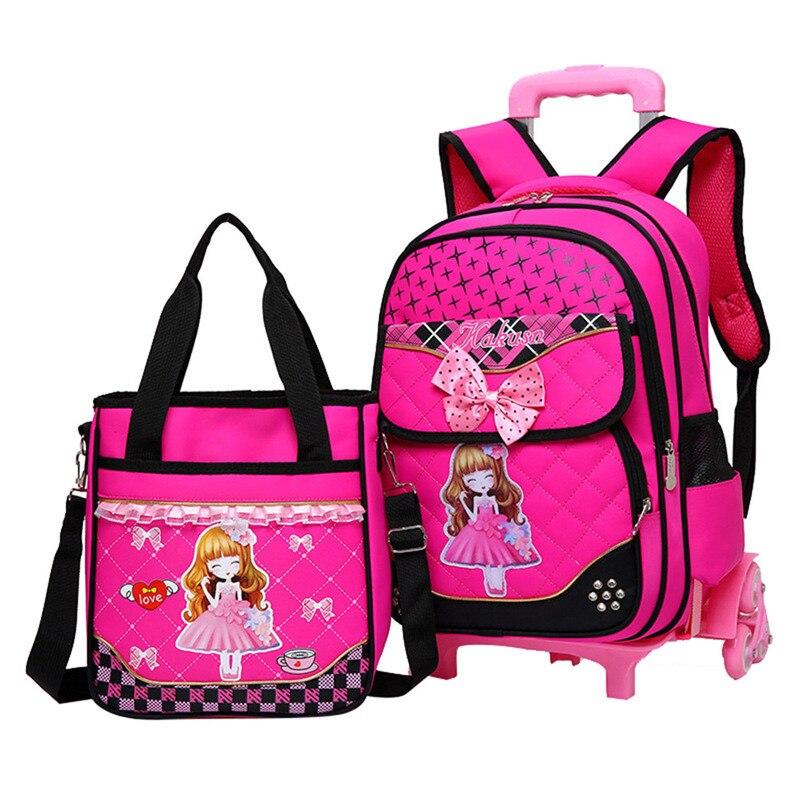 Fashion 2pcs set school backpacks 6 wheels children school bags for girls handbag waterproof cute kids