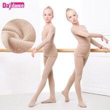 Kalınlaşmak kızlar bale iç çamaşırı takım elbise çıplak dans tayt Leotard bale streç dans giyim kış için