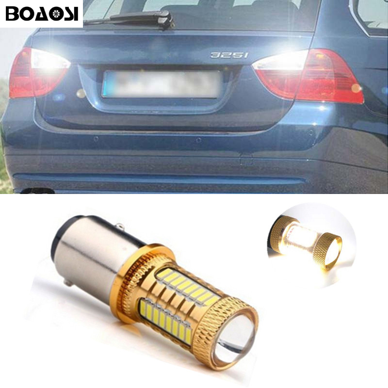 BOAOSI 1x Error Free LED Backup Reverse Light Bulbs 1156 p21w CREE Chip For BMW 3/5 SERIES E30 E36 E46 E34 X3 X5 E53 E70 Z3 Z4 ultra white error free 360 degree 80w r5 cree chip high power h8 led angel eyes ring marker bulbs for bmw 1 3 5 series z4 x5 x6