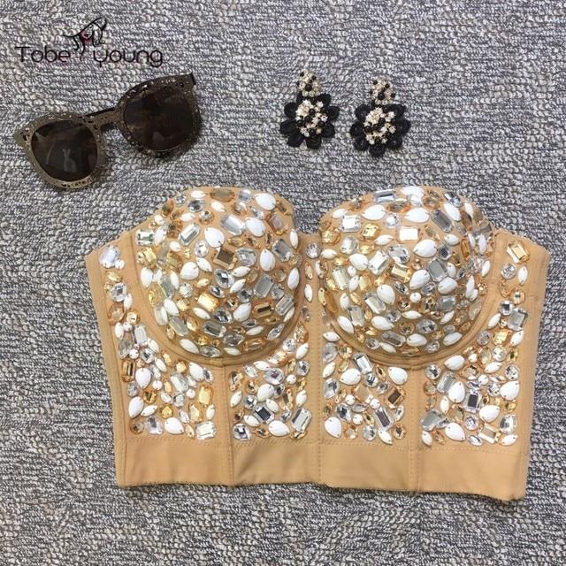 2016 Sexy High Quality Handmade Rhinestone Bralette Push Up Bra Bustier Cropped Tops for Women Femininas Vest Camisole Corset