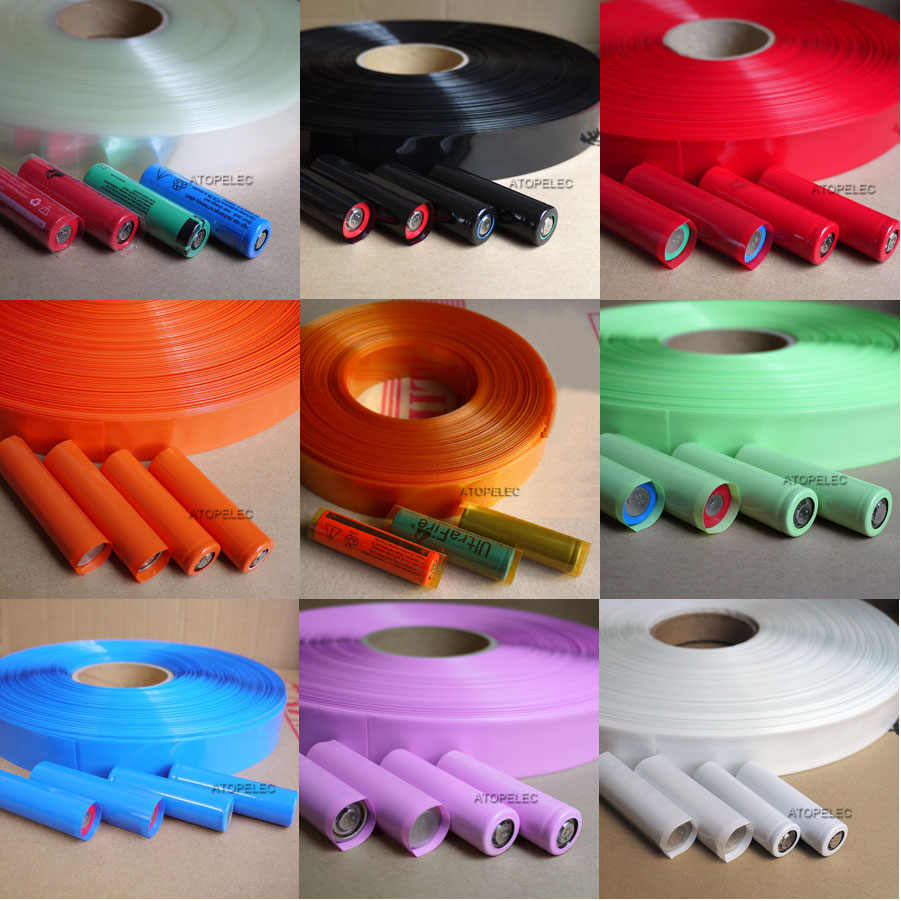 Largura 29.5 MILÍMETROS/PVC 18.5 MILÍMETROS de Diâmetro 2:1 Heat Shrink Tubing 18650 18500 Bateria Envoltório Preto/Vermelho/ laranja/Verde/Azul/Cinza/Branco/Claro