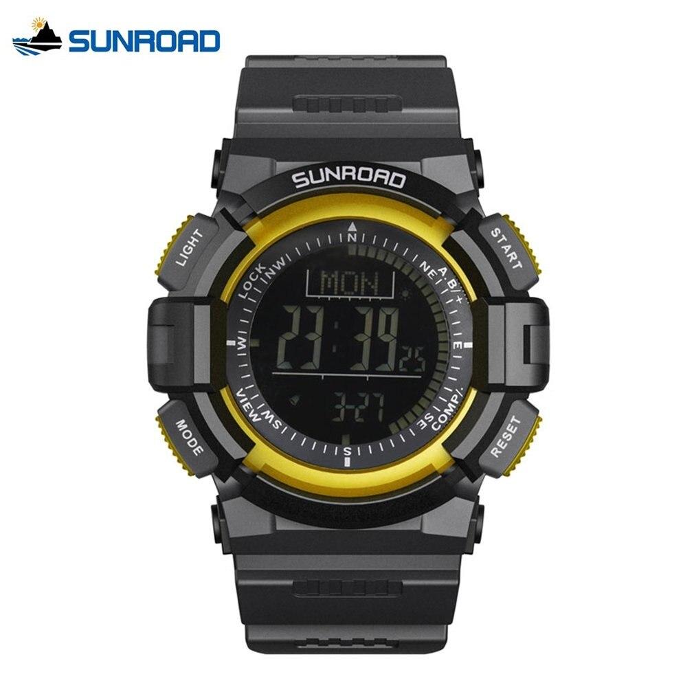 SUNROAD Sports Watch Man Multifunctional 5ATM Waterproof Digital Rubber Compass Pedometer Electronics Wristwatch Best Gift