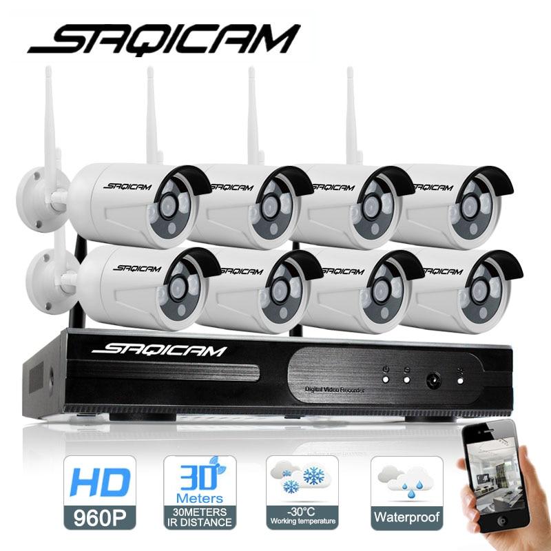 imágenes para Saqicam 8 Canales Sistema de Cámaras de Seguridad 8 unids 1.3MP 960 P HD Inalámbrico Impermeable Al Aire Libre Cámara IP Inalámbrica WiFi NVR Kit