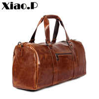 Xiao.P Brand Crazy Horse PU Leather Men's Travel Bags Coffee Bucket Handbags Shoulder Bag large Men Business Luggage Bag