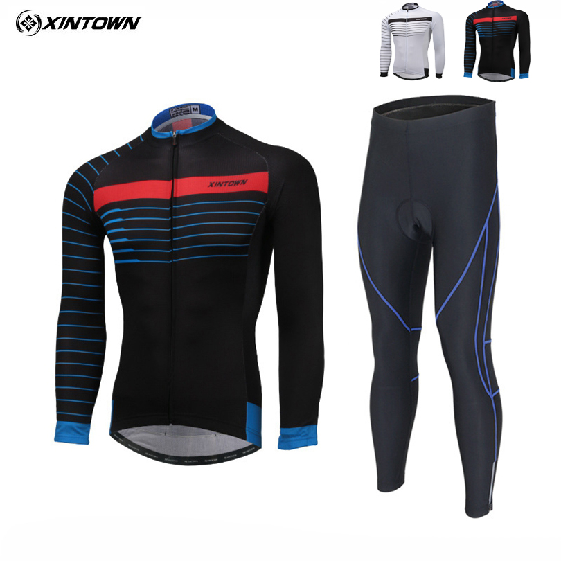 XINTOWN 2018 Team Pro Cycle Jersey Ropa Ciclismo Mens Long Sleeve Padded Maillot Cycling Bib Pants Kit Bicycle Clothes Sets Suit 2018 cycling jersey long sleeve pro bike bib pants set ropa ciclismo mens cycle wear bicycle uniformes maillot sportwear