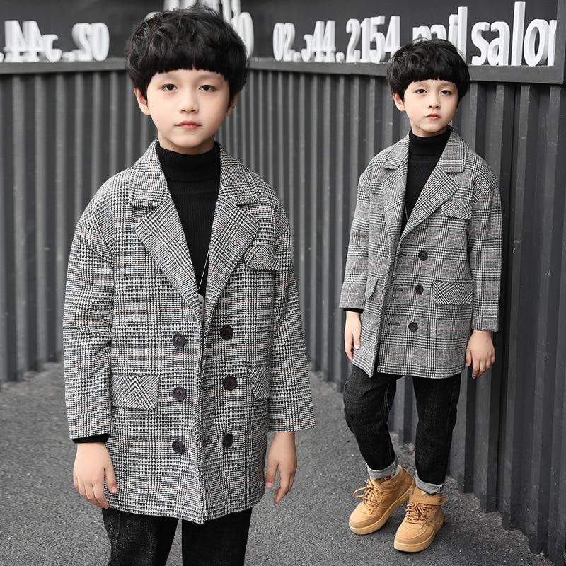 Boy plaid jacket in long section woolen jacket lapel children windbreaker coat 2017new winter big boy child Woolen coat  3-12 цены онлайн