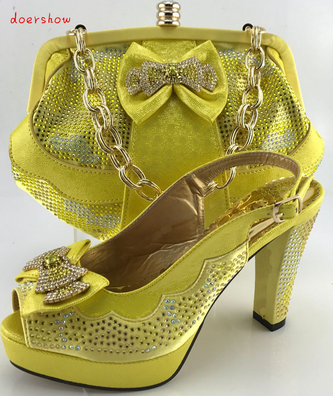 doershow Fashion Italian Shoe With Matching Bag Set For Party African Women Shoe And Bag To Match Set yellow Party Shoes PQS1-8 shoes and bag to match italian african shoe and bag set for party in women italian matching shoe and bag set doershow hjt1 25