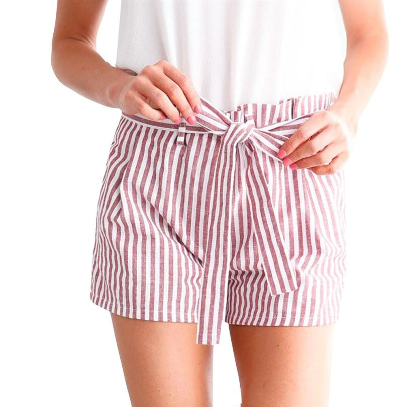 Vintage Casual Fashion New Women Stripe Loose high waitst Hot shorts Lady Girls Summer Beach clothes Trousers free shipping #F