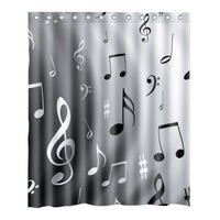 Home Bathroom Decor Music Notes Waterproof Polyester Fabric Shower Curtain 59 X 71 W 10pcs Hooks