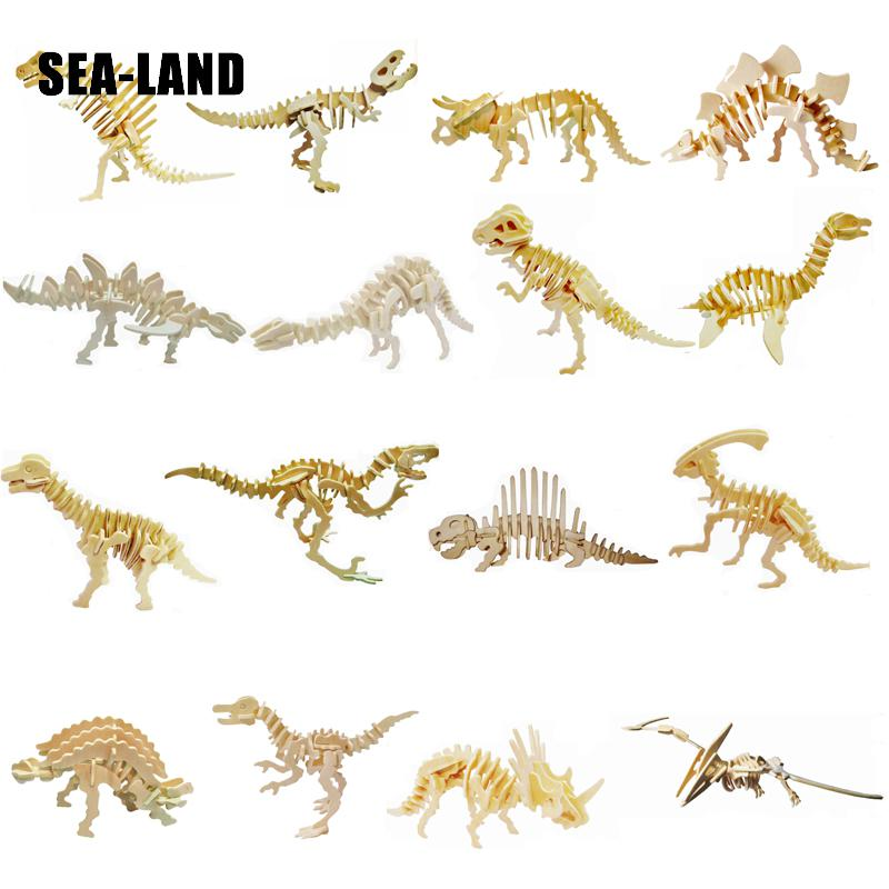 Value Pack Kids Toys Of 3D Wooden Puzzle For Children 16 Dinosaurs In 8 Sets Best Montessori Educationaly Diy Toys As Hobby Gift
