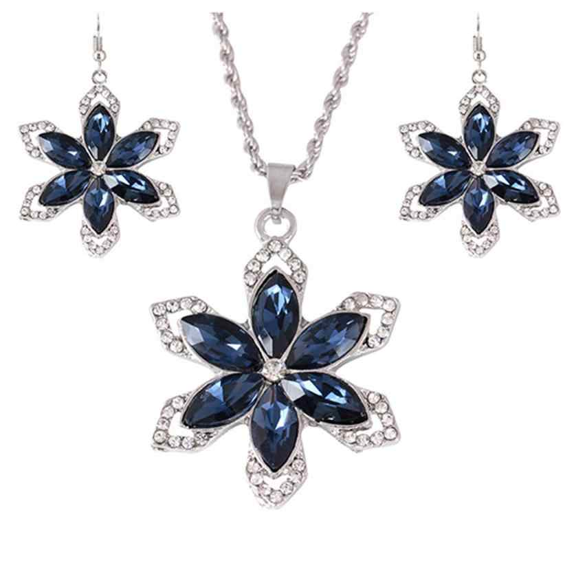 Moment # N03 2018 Fashion Blue and Gold Elegant Flower Necklace Choker Style Blue Rivers Collection Earring Set Free Shipping