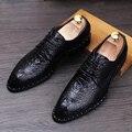 Мода Мужчины Дерби Обувь Из Натуральной кожи Острым Носом, Босоножки, Вскользь Платья обувь картины Крокодила Мужчины Квартиры 022