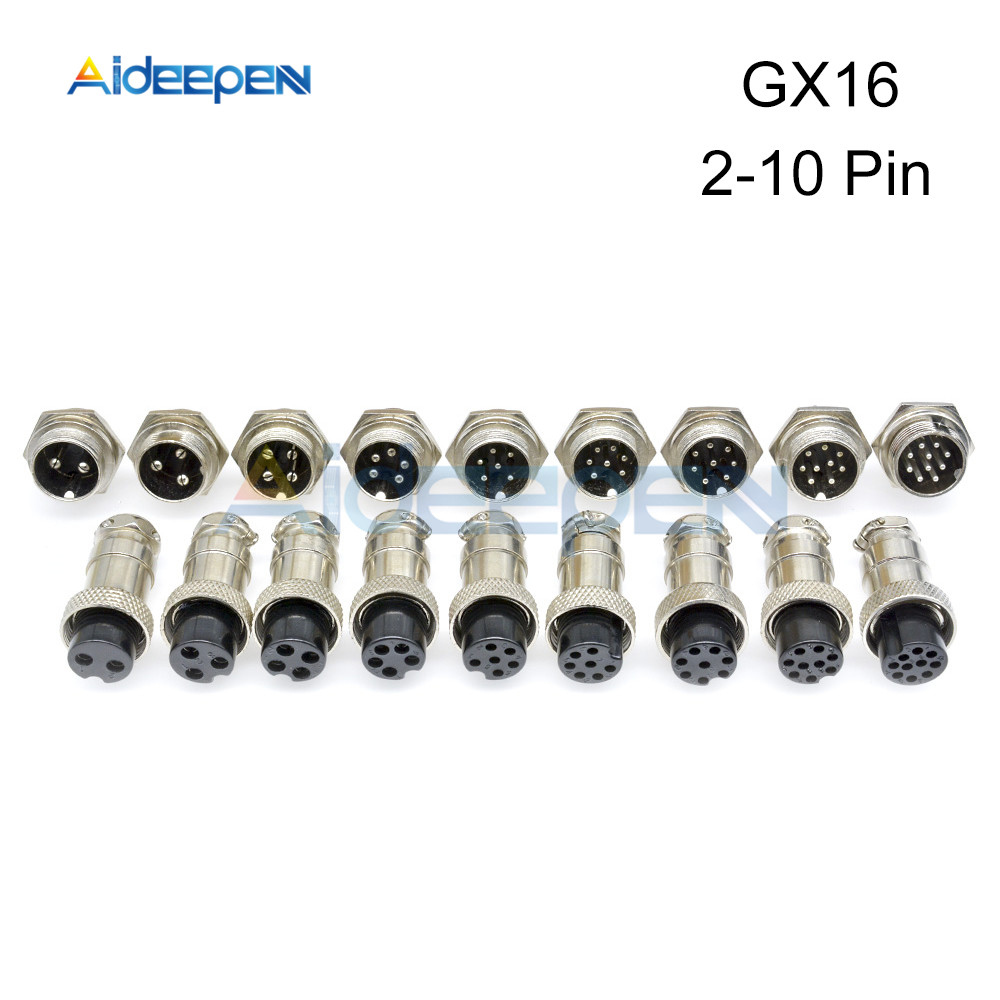 1set GX16 2/3/4/5/6/7/8/9/10 Pin Male & Female 16mm Circular Aviation Socket Plug Wire Panel Connector 2-10 Pin