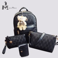 Leather Backpack Mini Bag Fashion Mini Backpack 4 In 1 Set Composite Bags With Bear Preppy