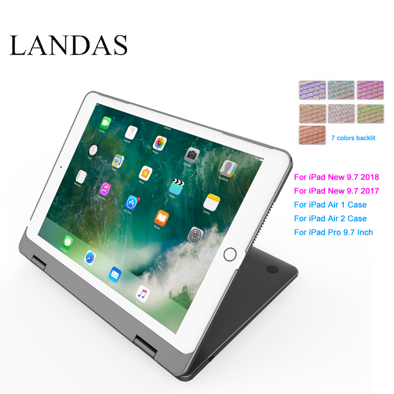 Tablet Keyboard For iPad 2018 Case Cover Bluetooth Wireless Backlit Keyboard For iPad 2017 Smart Cover Stand 9.7 Inch 2018 Case