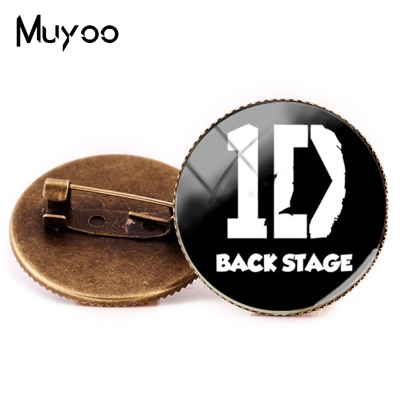 US $0.93 41% OFF|2018 New One Direction ID Brooch Pin Fashion Statement Pins Glass Handmade Jewelry Silver Bronze Photo Brooches ID Brooch in Brooches