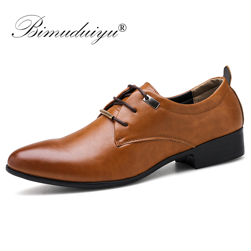 BIMUDUIYU Men Dress Office Shoes Fashion Pointed Toe Men s Business Casual Shoes Brown Black Leather