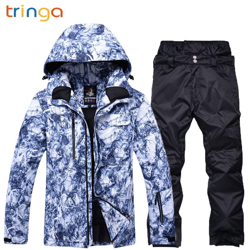 2018 New Hot Ski suit Men Snowboard Double skis Waterproof Winter Outdoor ski suit Men suit jacket + pants Thick warm snow suit цена