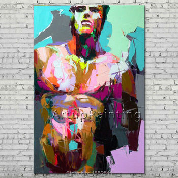 Palette knife portrait Face Oil painting Character figure canva Hand painted Francoise Nielly wall Art picture for living room13
