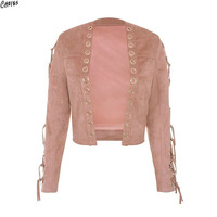 Pink Faux Suede Eyelet Lace Up Sleeve Women Jacket Coat Autumn 2017 New Open Front High Street Fashion Outwear