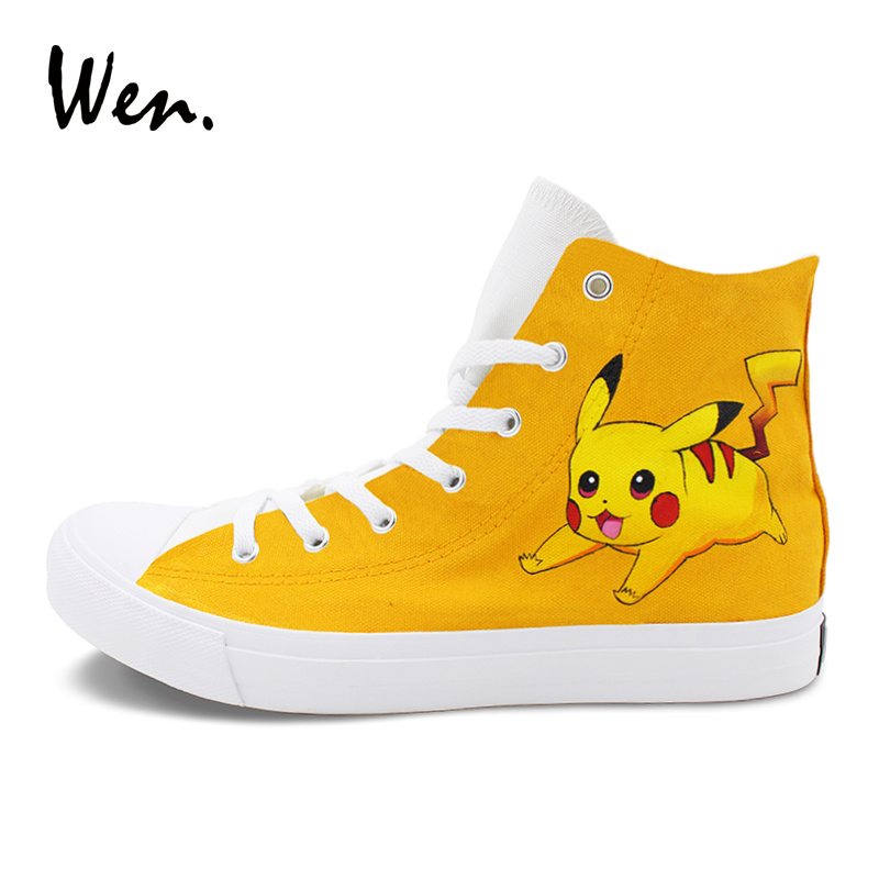 9597ceaf2682 Wen Lightning Pikachu Hand Painted Shoes Anime Pokemon Design High Top  Skateboarding Shoes Men Women Flat Sneakers Plimsolls