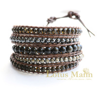 Lotusmann Gold stone leather cord bracelet pyrite hematite obsidian magnetic field