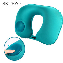 SKTEZO Hot Sale 2018 Portable Automatic Inflatable Neck Pillow Travel Pillow Neck  Airplane Pillows  Rest Comfort Small U type