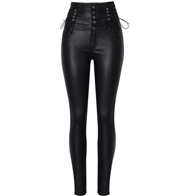 Plus Size Black PU Leather Pants With High Waist Stretch Skinny PU Pants women Elasticity WomenTights Pencil pants