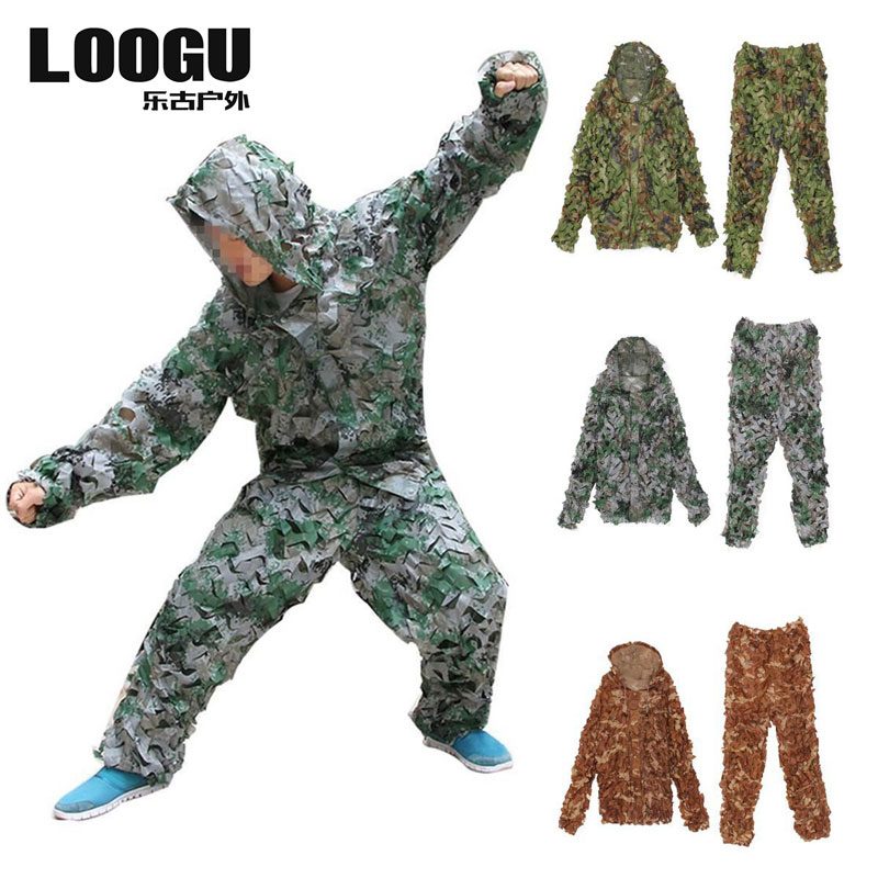 Unisex CS 3d Camouflage Suits Set hunting camouflage suit leaf ghillie Suit    Realtree Sniper Hunting Clothes windproof realtree camouflage suits wild hunting clothing oem vision