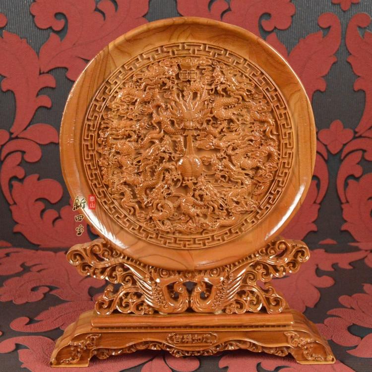 Chine affaires étrangères cadeau-maison salon bureau efficace Talisman de bon augure chanceux 9 dragons FENG SHUI sculpture sur bois art