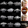 Beautiful Floral Wedding Tiara Sparkling Silver Plated Austrian Crystal Pearl Bridal Hair Combs Hair Jewelry Hair Accessories