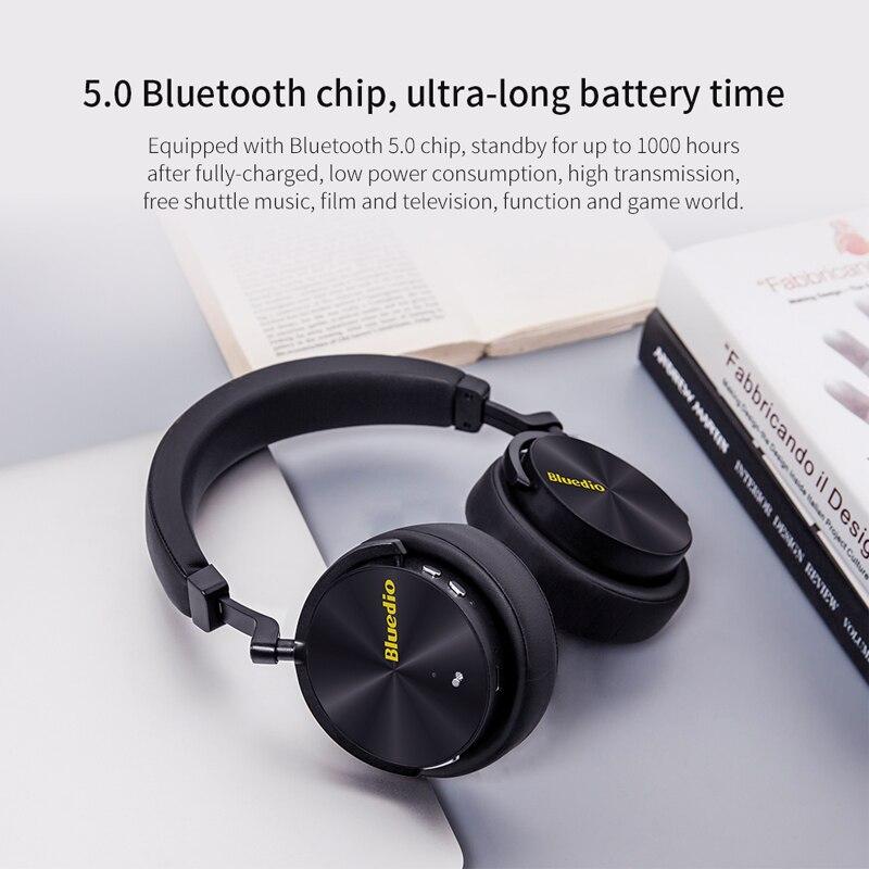 Bluedio T5 HiFi actif suppression de bruit casque sans fil bluetooth sur l'oreille casque avec microphone pour téléphones xiaomi huawei - 2