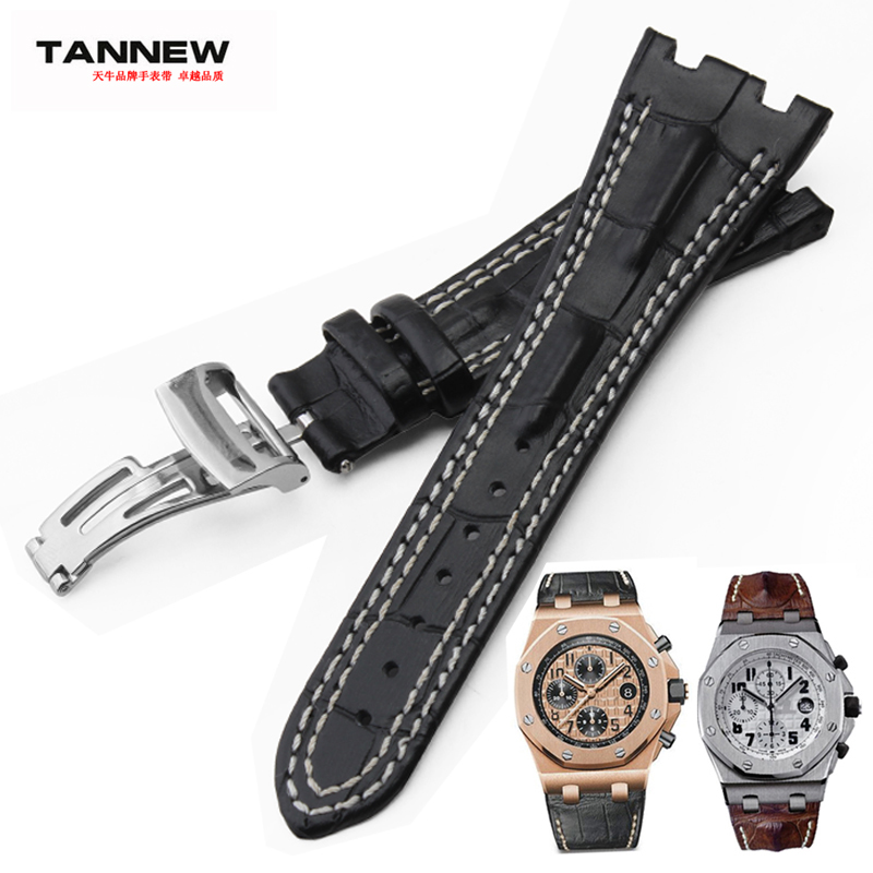 High quality negenuine leather watchband double line strap for <font><b>AP</b></font> <font><b>WATCH</b></font> <font><b>band</b></font> 28mm with stainless steel folding clasp black image
