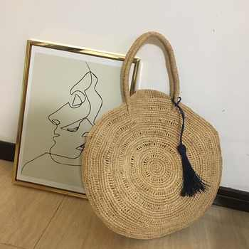 Big Capacity Women Shoulder Bag Summer Beach Holiday Bag Natural Hand-Woven Big Straw Bag Round High Quality Totes Bag - DISCOUNT ITEM  25 OFF Luggage & Bags