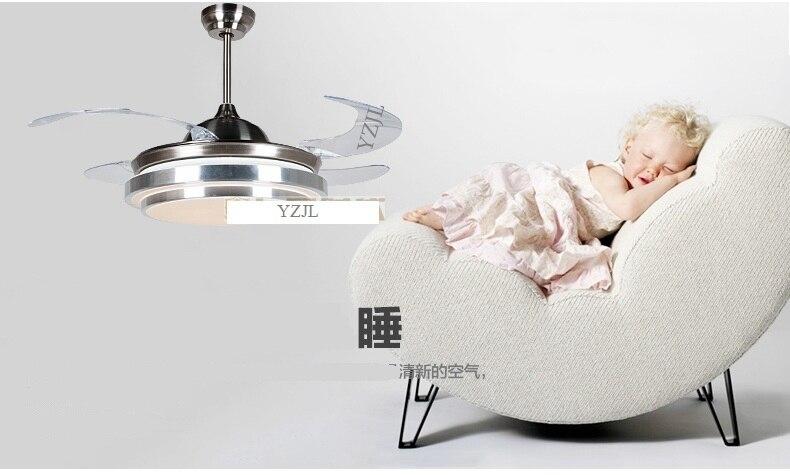 LED складной вентилятор мода гостиная современный минималистский ресторан вентилятор свет потолочный вентилятор лампа с дистанционным управлением 42inc вентиляторы