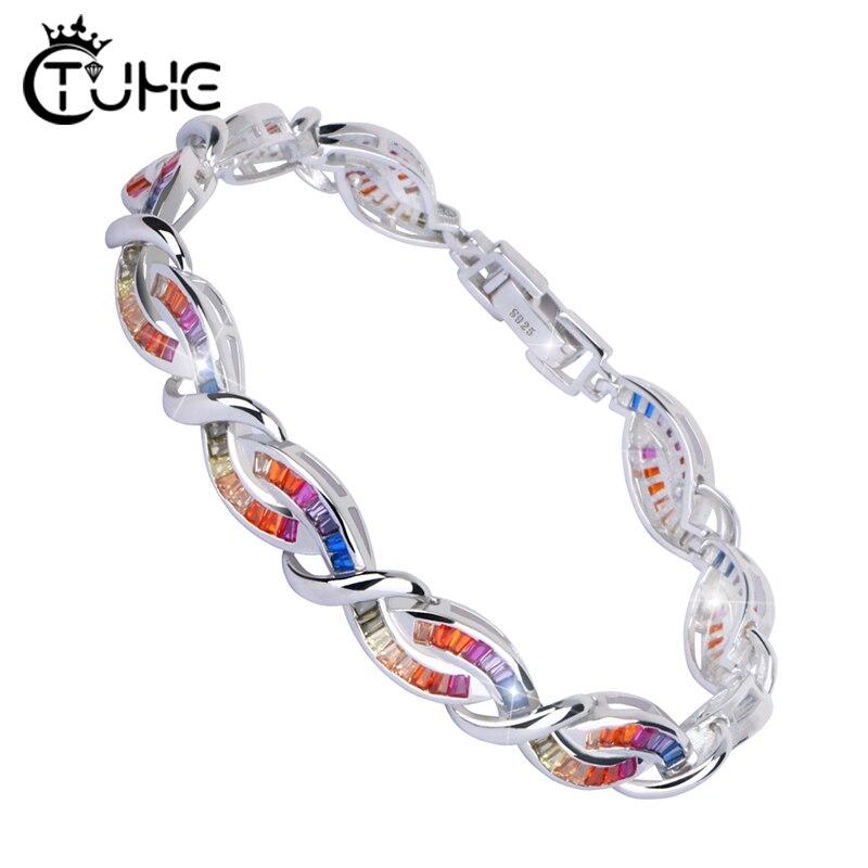 Infinity Cubic Zirconia Tennis Bracelet for Women Men Luxury Jewelry Silver Filled Rainbow Bracelet Made By