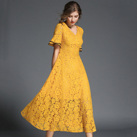 Summer Women Lace Dresses 2017 Hollow Out Butterfly Sleeves Yellow Dress Feminino Black V Neck Plus