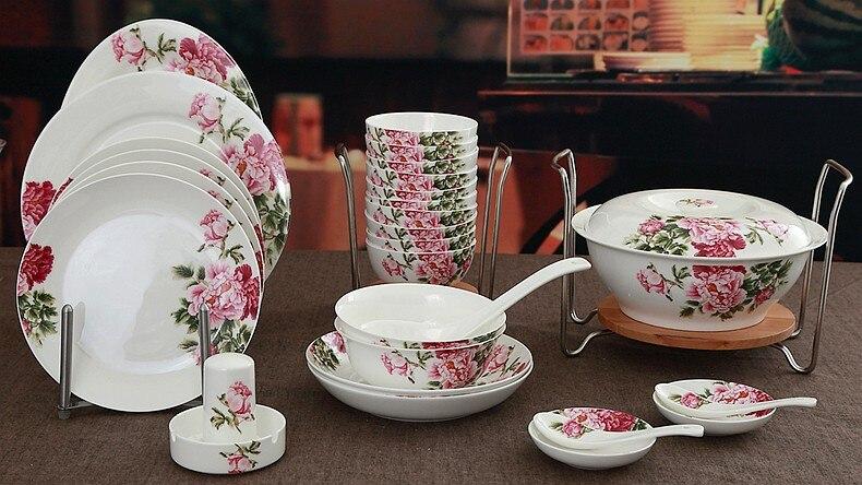 48 Piece Set Spring Floral Peony Blossom Designed Fine