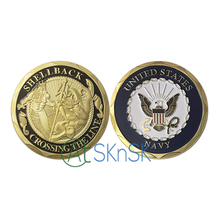 U.S. Navy Shellback Military Challenge Coins Crossing The Line Mariners Sailors Eagle Commemorative Coin Armed Force Collection crossing the date line